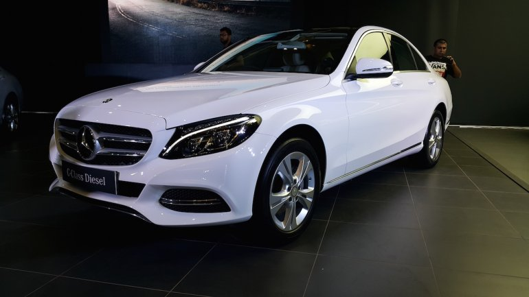 2015 Mercedes C Class Diesel launch front three quarter
