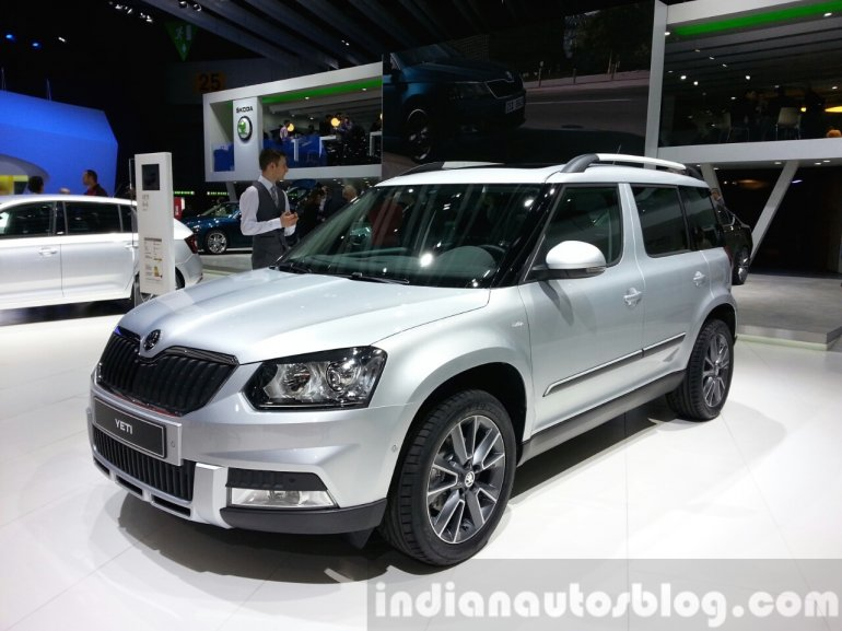 Skoda Yeti limited Edition front three quarter view at the 2015 Geneva Motor Show