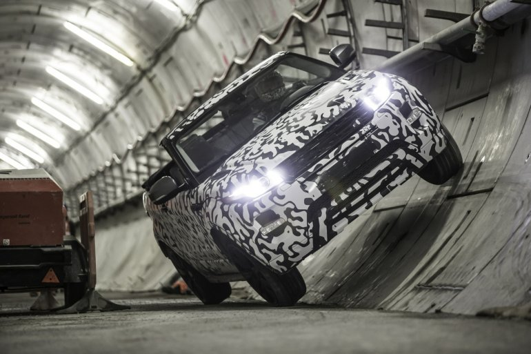 Range Rover Evoque Convertible inside a tunnel