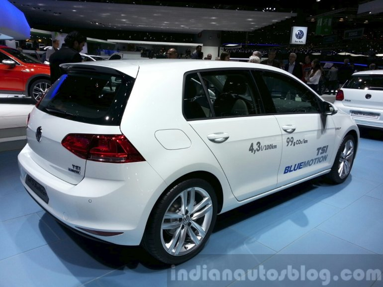 VW Golf TSI BlueMotion rear three quarter at the 2015 Geneva Motor Show