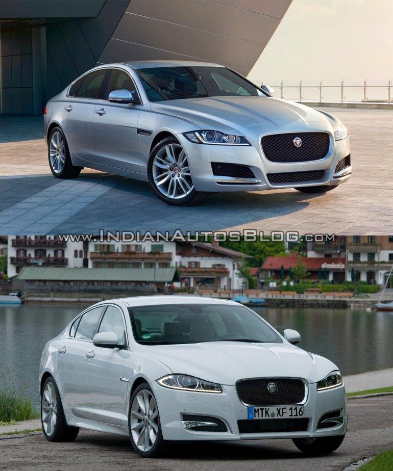 2016 Jaguar XF vs 2012 Jaguar XF front quarter