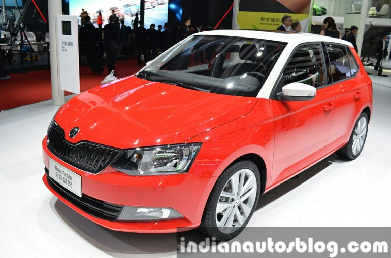 Skoda Fabia front angle view at Auto Shanghai 2015