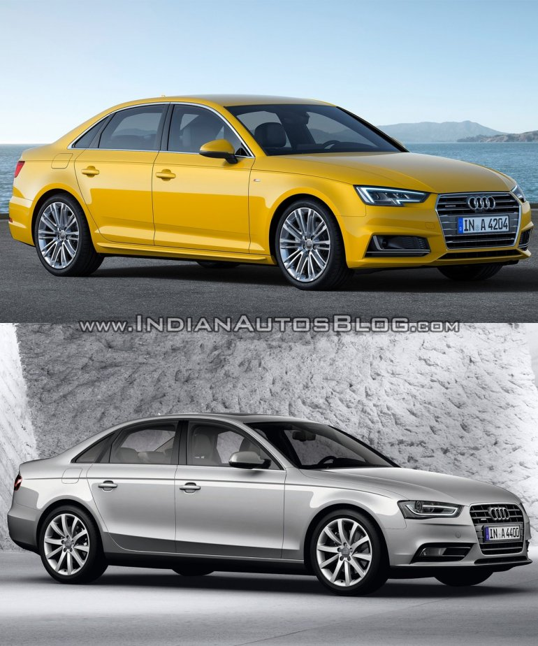 2016 Audi A4 (B9) vs 2013 Audi A4 (B8) front quarter old vs new