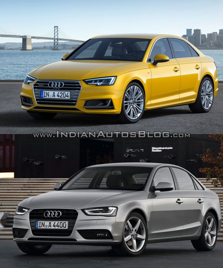 2016 Audi A4 (B9) vs 2013 Audi A4 (B8) front three quarter old vs new