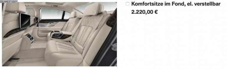 2016 BMW 7 Series rear seats leaked