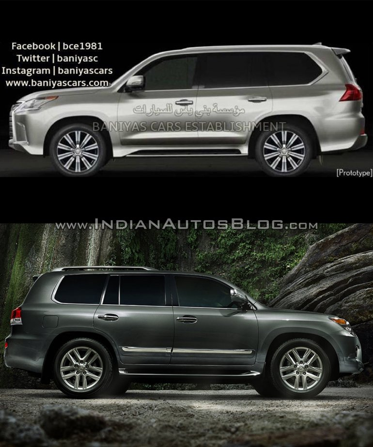2016 Lexus LX570 vs 2014 Lexus LX570 side Old vs New