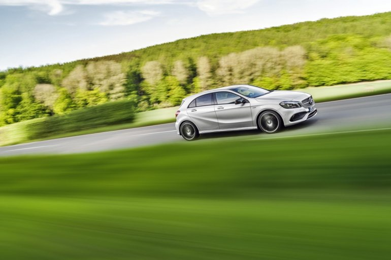 2016 Mercedes A Class AMG Line (facelift) side revealed press image