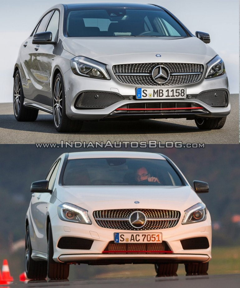 2016 Mercedes A Class AMG Line vs 2012 Mercedes A Class AMG Line front quarter Old vs New