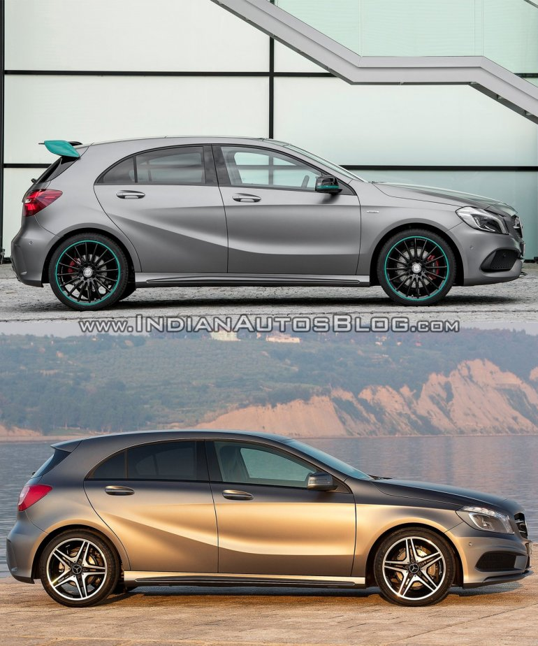2016 Mercedes A Class Motorsport package vs 2012 Mercedes A Class AMG Line side Old vs New