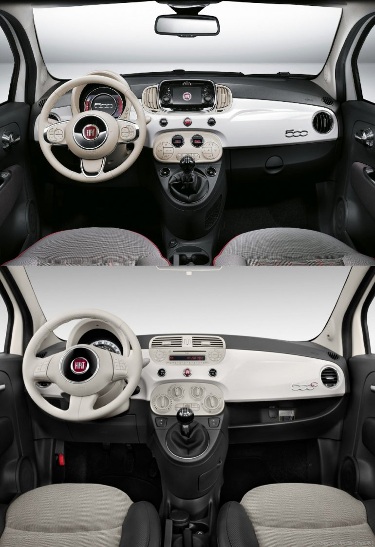 2015 Fiat 500 dashboard vs 2012 Fiat 500 dashboard