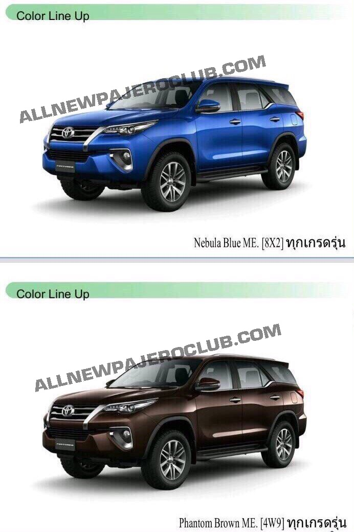 2016 Toyota Fortuner To Come In 6 Colors Gets Led Headlight