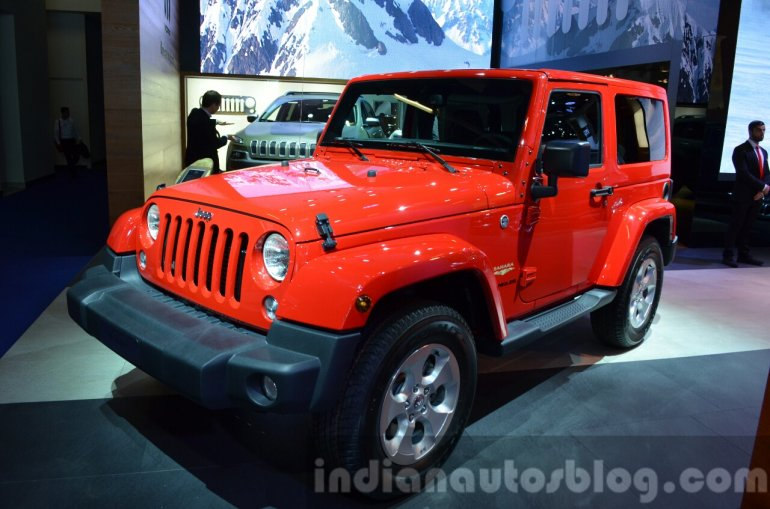 2015 Jeep Wrangler Sahara front three quarter at the IAA 2015