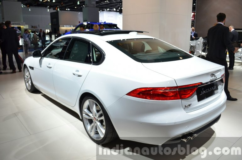 India-bound 2016 Jaguar XF rear three quarter at the IAA 2015