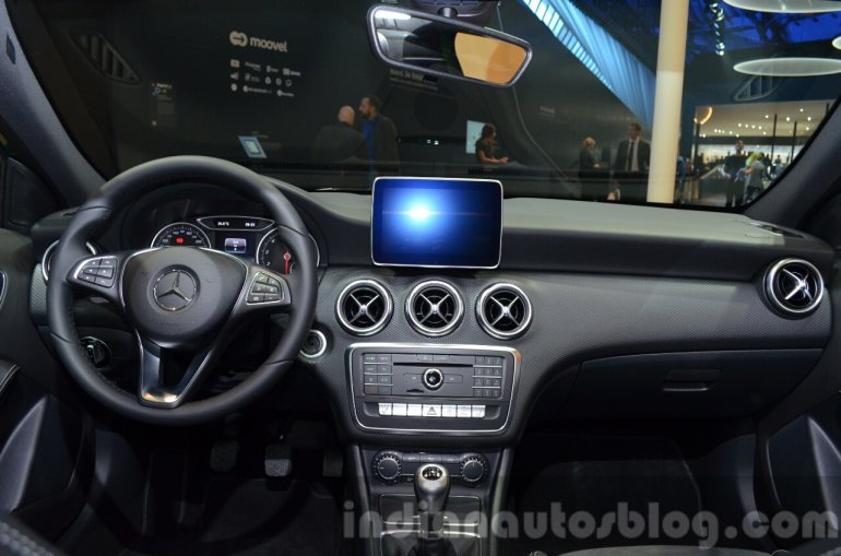 India-bound 2016 Mercedes A Class (facelift) dashboard at IAA 2015