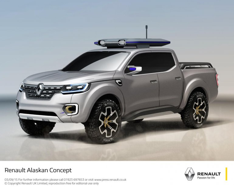Renault Alaskan pick-up truck front three quarter unveiled