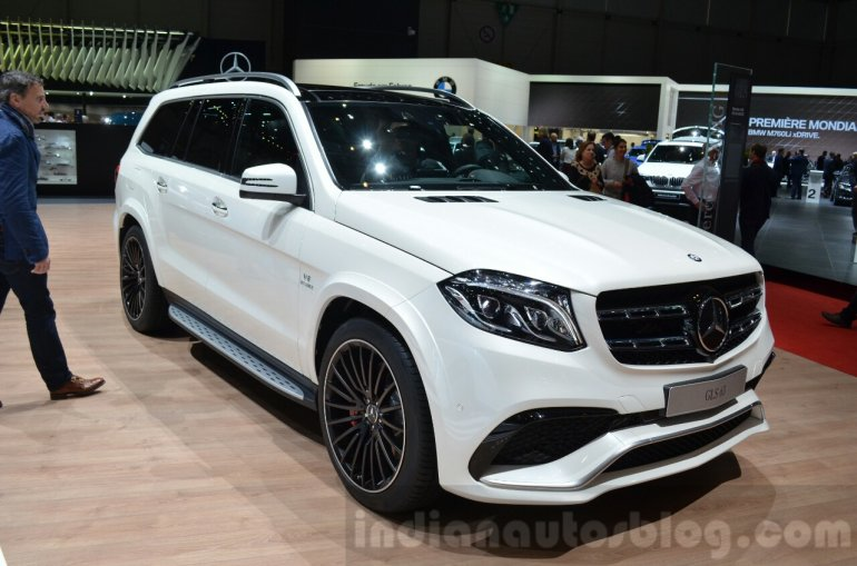 India-bound Mercedes GLS 63 front three quarter at the 2016 Geneva Motor Show Live