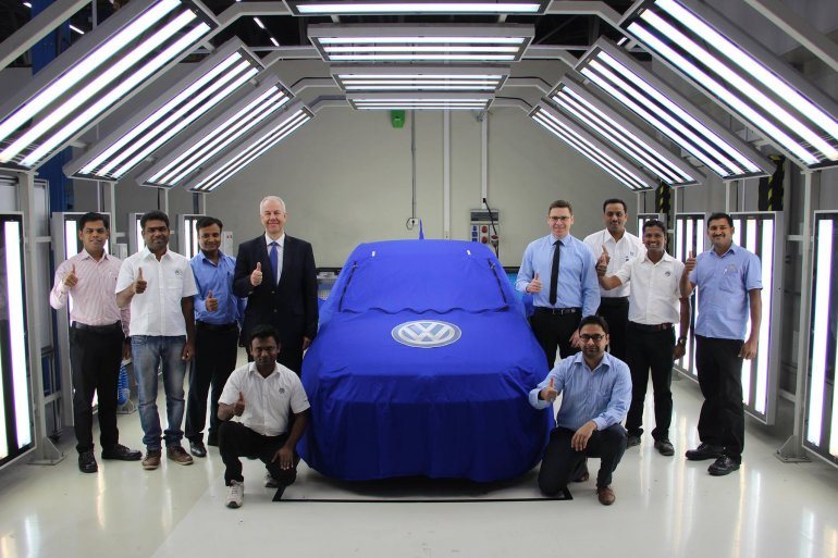 VW Ameo front teased at the Pune manufacturing plant