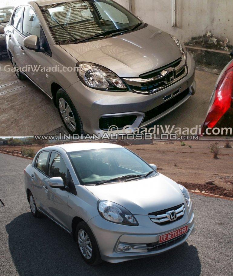 Honda Amaze facelift vs current Honda Amaze front