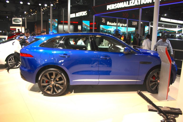 Jaguar F-Pace side at the Auto Expo 2016