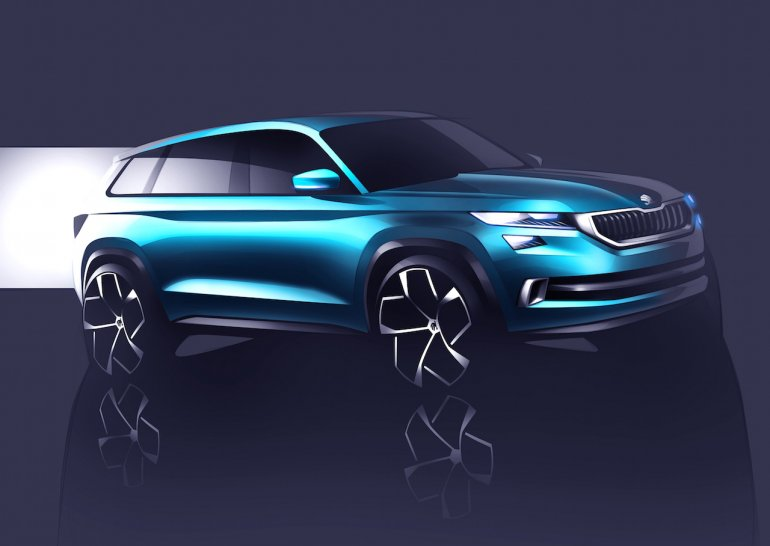 Skoda VisionS concept front three quarters sketch