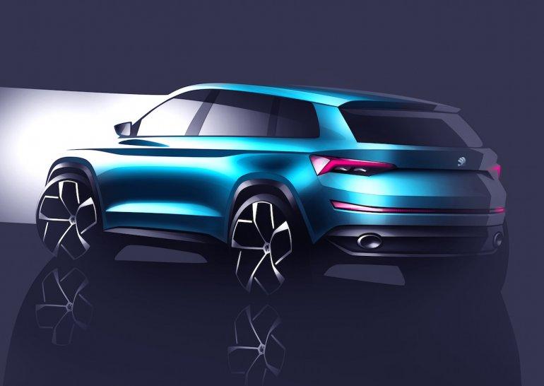 Skoda VisionS concept rear sketch
