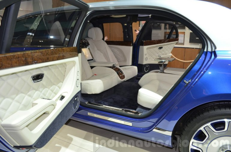 Bentley Mulsanne Grand Limousine by Mulliner rear interior at 2016 Geneva Motor Show