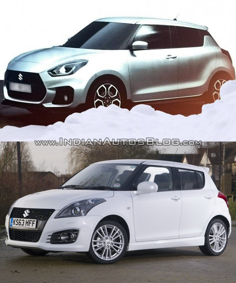 Next-gen 2017 Maruti Swift vs current Maruti Swift front