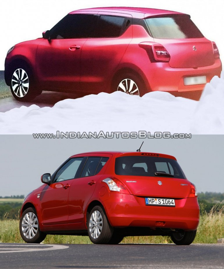 Next-gen 2017 Maruti Swift vs current Maruti Swift rear