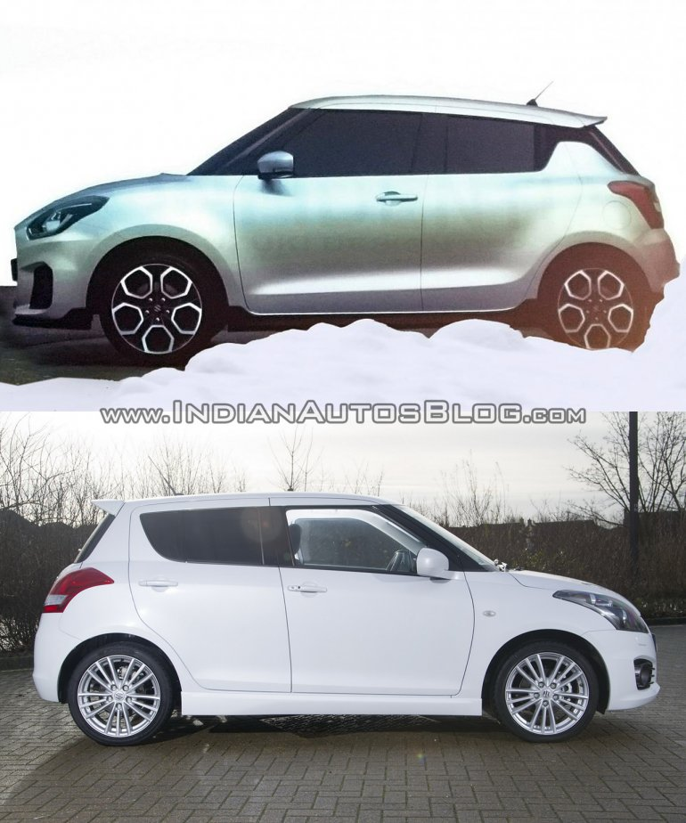Next-gen 2017 Maruti Swift vs current Maruti Swift side