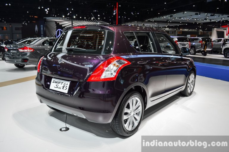 Suzuki Swift Sai edition rear quarter at 2016 BIMS