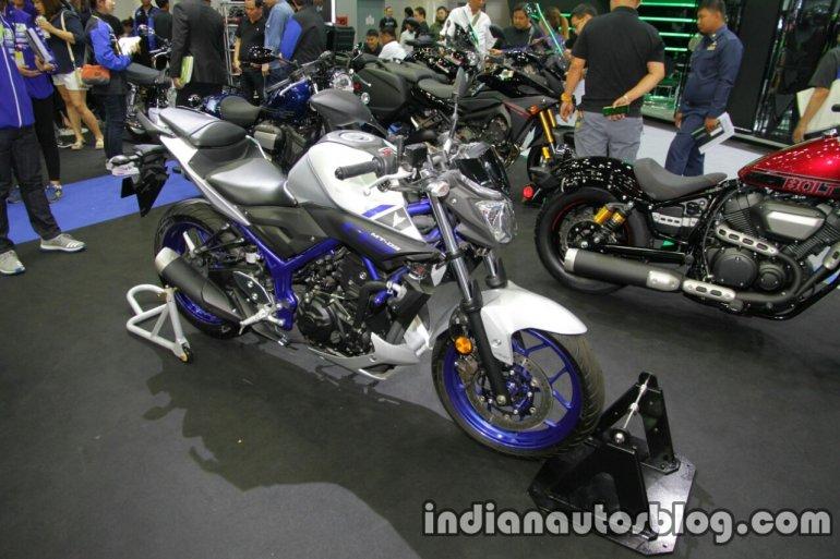 Yamaha MT-03 front three quarter at Thai Motor Expo