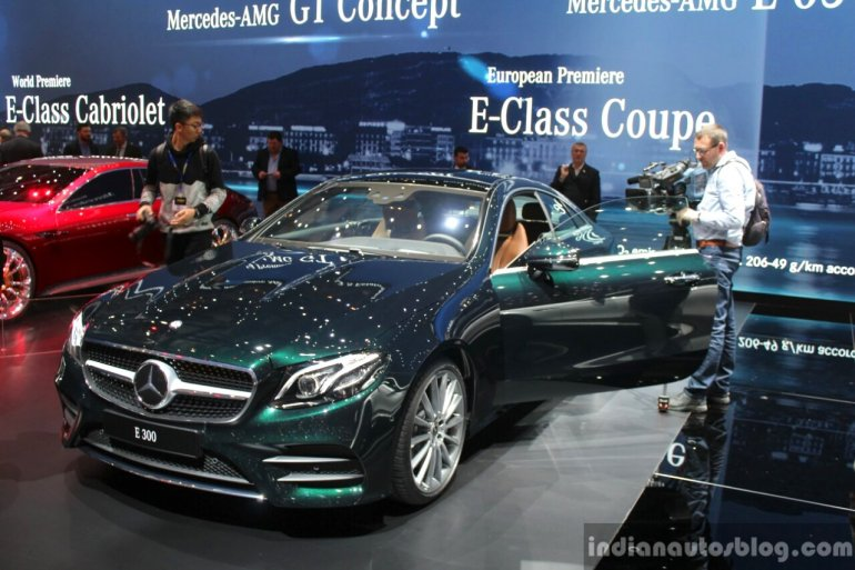 2017 Mercedes E-Class Coupe front quarter at the 2017 Geneva Motor Show
