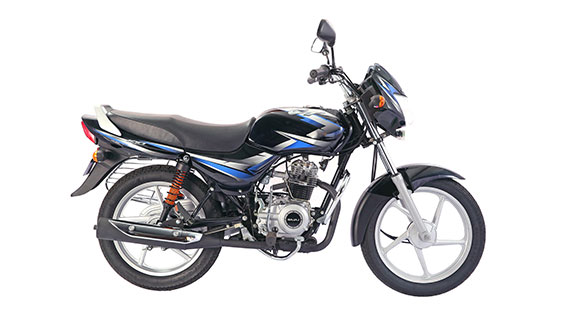 Bajaj CT100 BSIV black with blue side studio