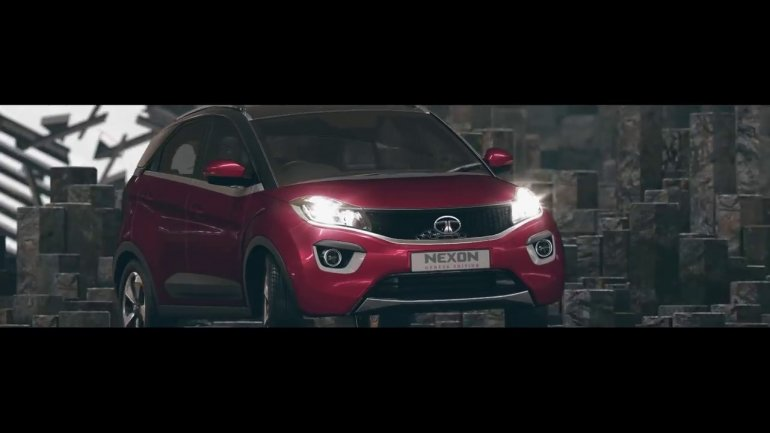 Tata Nexon maroon front three quarters