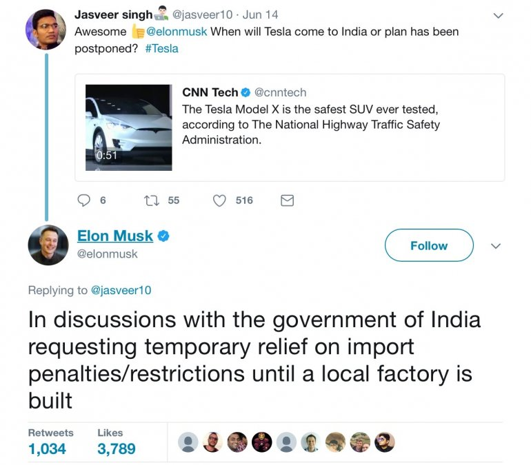 Elon Musk in talks with Indian Government tweet