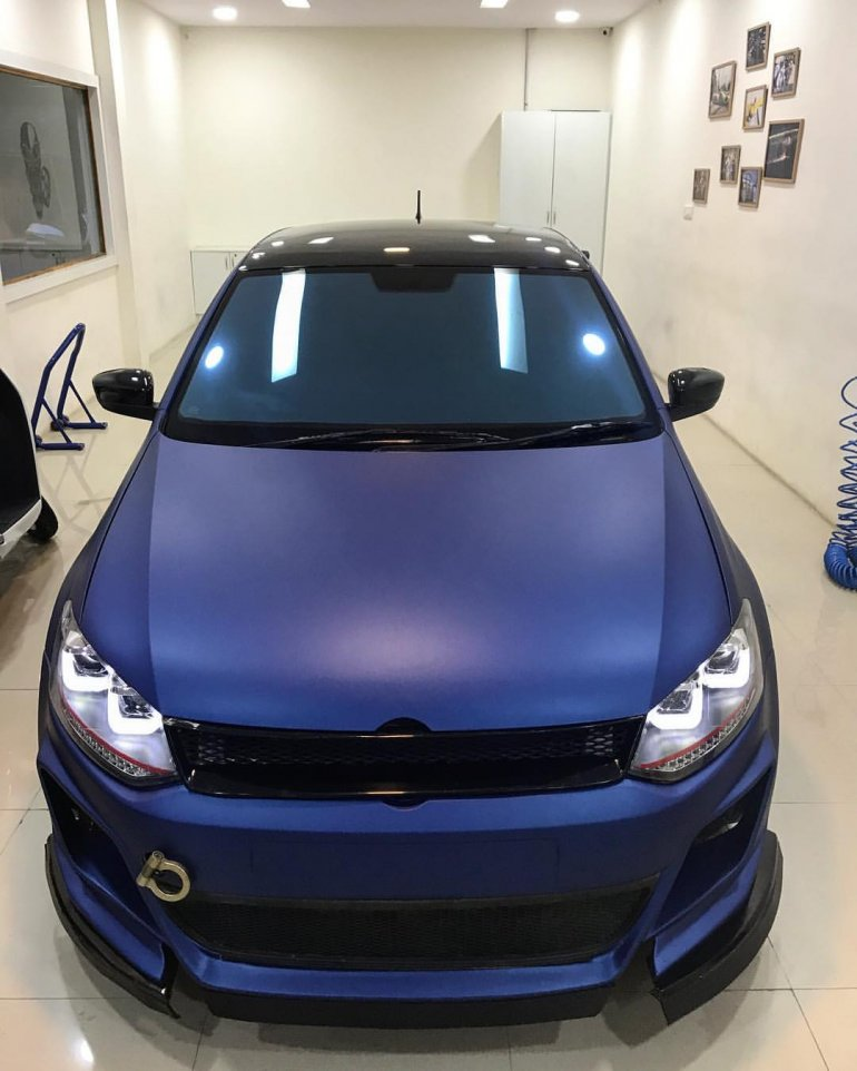 Vw Polo With Sports Body Kit And Matte Blue Wrap In Images