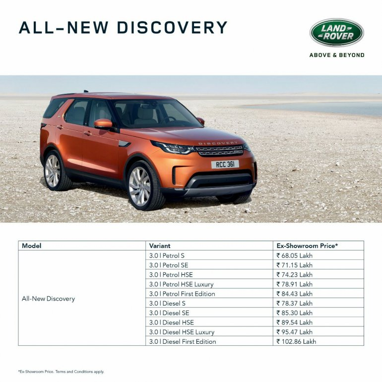 2017 Land Rover Discovery price list