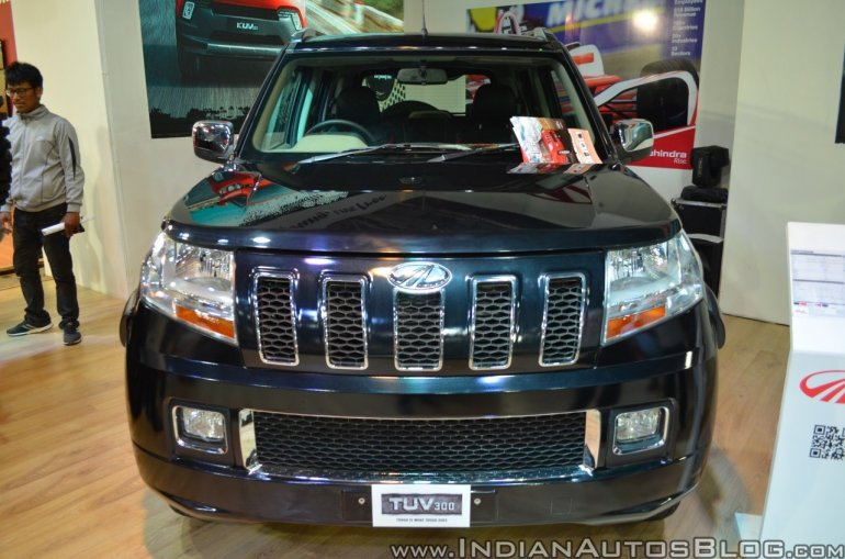 Accessorised Mahindra TUV300 front at Nepal Auto Show 2017