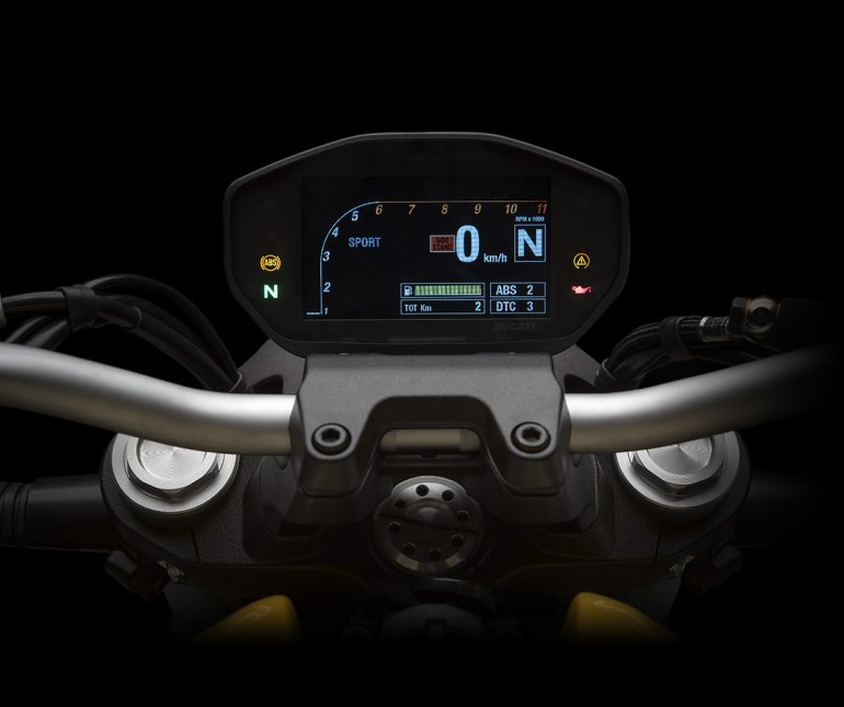 2018 Ducati Monster 821 Yellow press instrument cluster