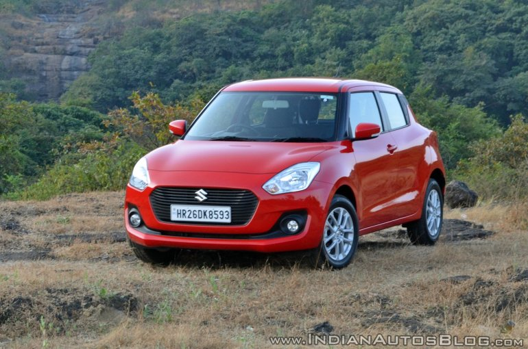 2018 Maruti Swift test drive review front three quarters view