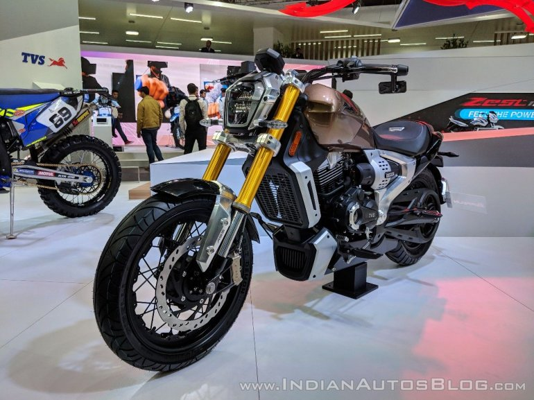 TVS Zeppelin Concept front left quarter at 2018 Auto Expo