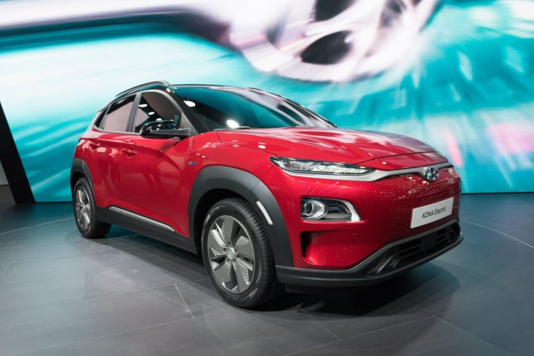 Hyundai Kona Electric red front three quarters right side at 2018 Geneva Motor Show