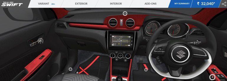 2018 Maruti Swift accessorised interior